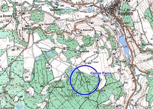 --- Source : Reporterre - carte d'implantation projetée du Center Parcs / Roybon - image-photo pouvant être protégée par Copyright ou autre ---