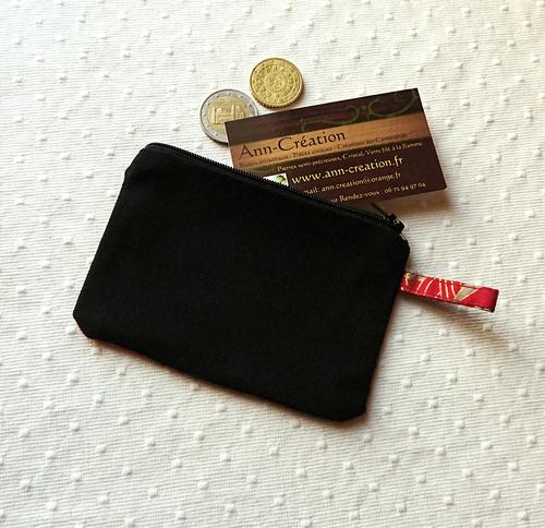 Petit Porte-monnaie tissu japonais coton imprimé floral Rouge / Vert et Or 12 x 8,5 cm, fermeture à glissière