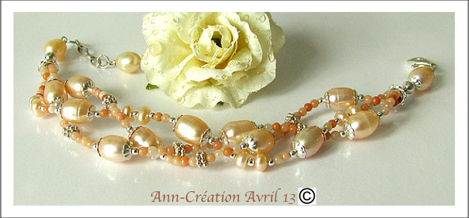 Bracelet 3 rangs Perles d'Eau douce et Pierre de Lune Pêche / Argent 925