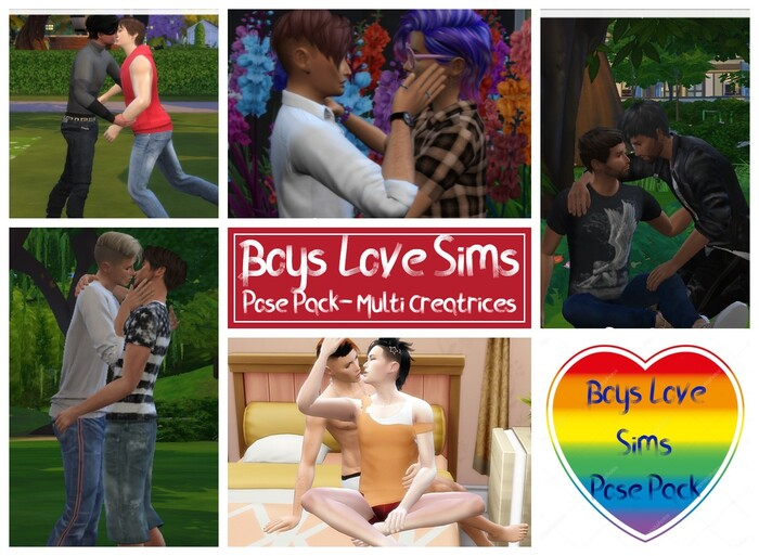 Boys Love Sims - Pose Pack Groupe