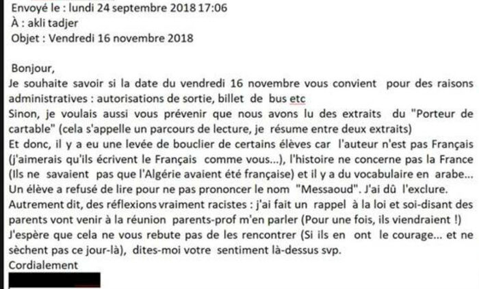 L'écrivain franco-algérien Akli Tadjer face aux lycéens refusant de lire sa prose