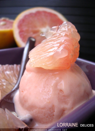 Glace pamplemousse rose litchi