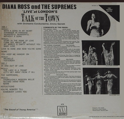 """Diana Ross & The Supremes : Album """" Live ! At London's Talk Of The Town """" Motown Records MS 676 [ US ]"""