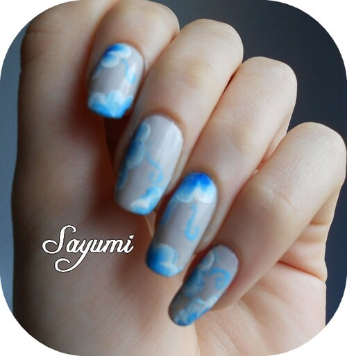 Nail Art one stroke bleu