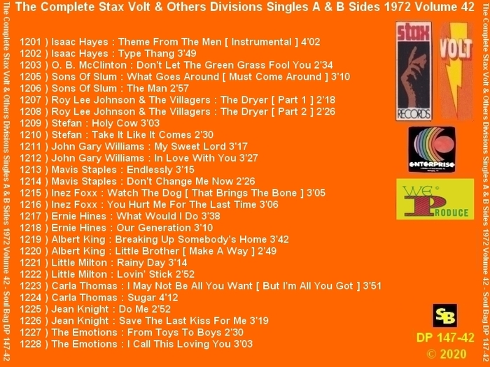 """ The Complete Stax-Volt Singles A & B Sides Vol. 42 Stax & Volt Records & Others "" SB Records DP 147-42 [ FR ]"