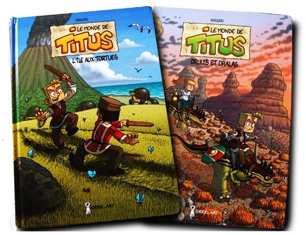 les deux albums des aventures de Titus par Koulou