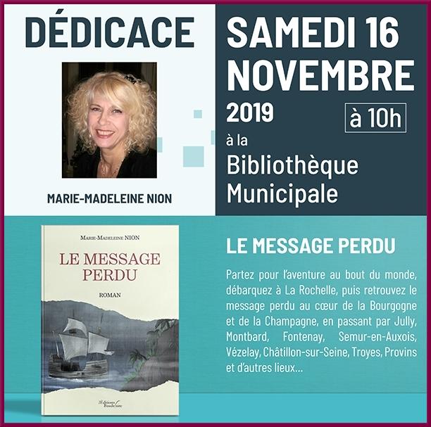 Maie-Madeleine Nyon a dédicacé son livre à la bibliothèque Municipale de Châtillon sur Seine...