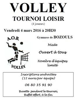 TOURNOI BOZOULS 4x4 vendredi 4 mars 20h