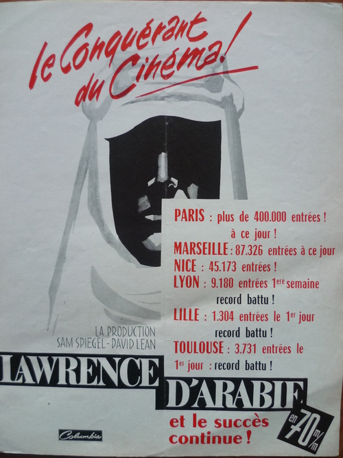 LAWRENCE D'ARABIE - DAVID LEAN ET PETER O'TOOLE BOX OFFICE 1963