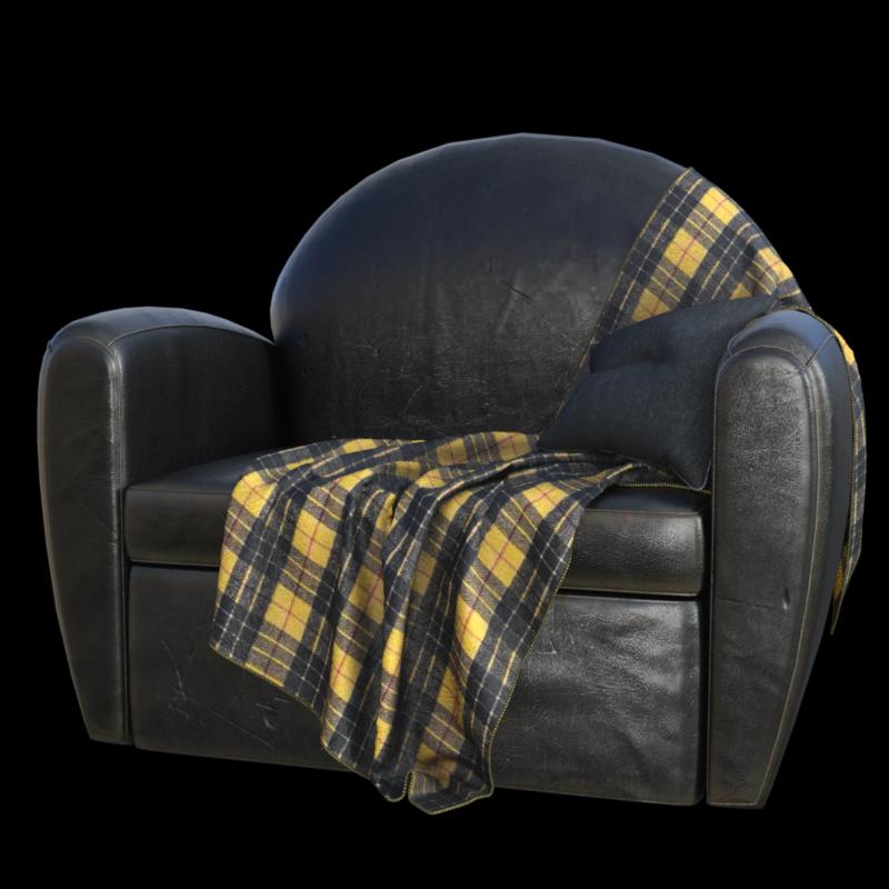 Tube de fauteuil avec plaid (render-image)