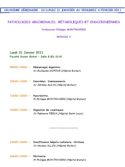 2ème séminaire : du 31/01/2011 au 04/02/2011