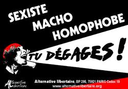 Sexiste, macho, homophobe, tu dégages
