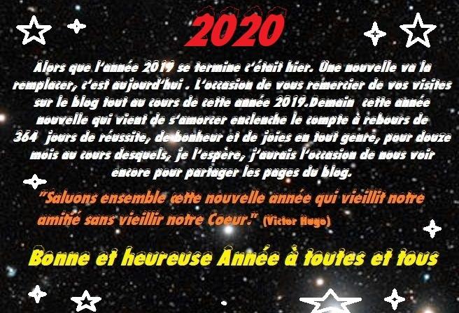 Adieux 2019 , vive l'année 2020 et ses voeux
