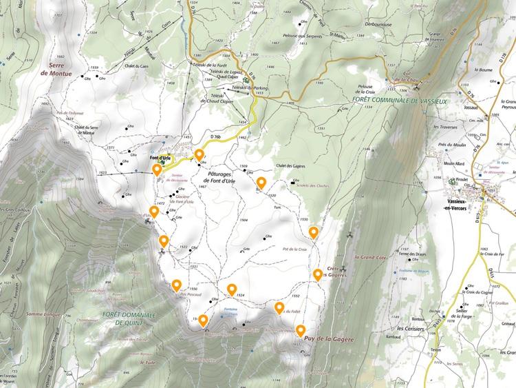 Circuit Font d'Urle, Puy de la Gagère en Vercors