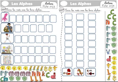 Fiches exercices encoder sons simples avec les alphas