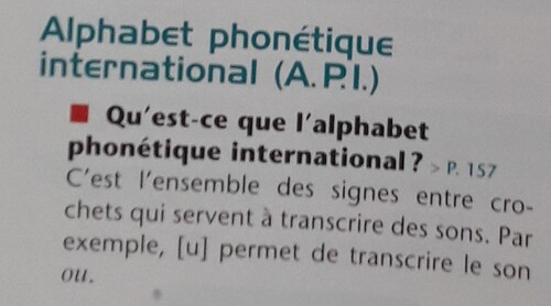 A / L'Alphabet Phonétique International (A.P.I.)