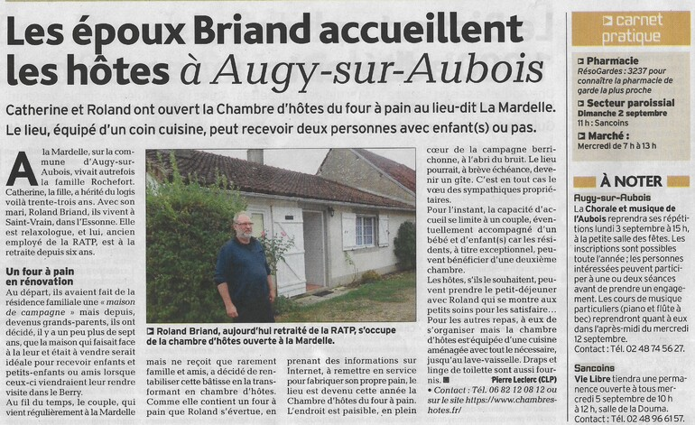 L'Echo du Berry du 30/08/18