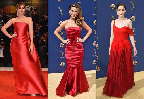 maquillage et robes de célébrité rouges