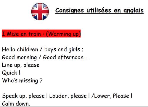 Consignes en anglais