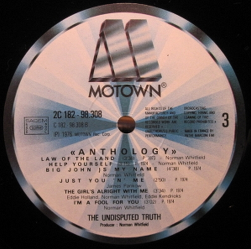 "1977 : Album "" Anthology "" Motown Records 2 C 182-98.308 [ FR ]"