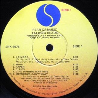 Mémoire de vinyl: Talking Heads - Fear of Music (1979)