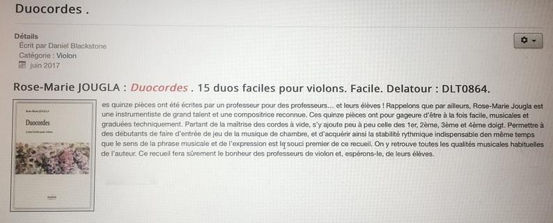"""1. """"Duocordes"""", 15 duos faciles pour violons"""