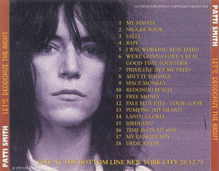 Le coin des lecteurs # 89: Patti Smith - Let's deodorize the night - Bottom Line NY - 28/12/1975