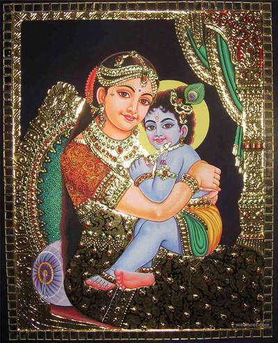 krishna yasoda tanjore painting