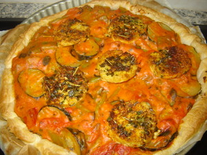 Quiche haricots plats, courgettes, tomates, tempeh