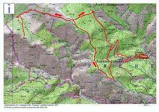 Le Roc et le Bac de Torrelles (1.745 m) depuis Urbanya (856 m)