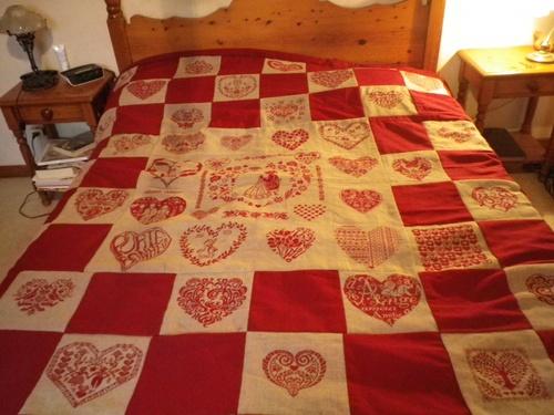 couvre lit aux coeurs