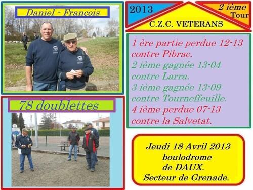 CHAMPIONNAT DE ZONE VETERANS 2 IÈME JOURNEE
