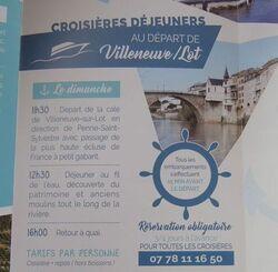 Sud Ouest 2017- Croisière repas sur le Lot à partir de Villeneuve