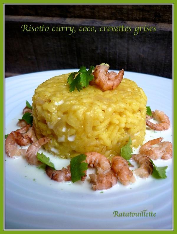 Risotto au curry, crème de coco et crevettes grises