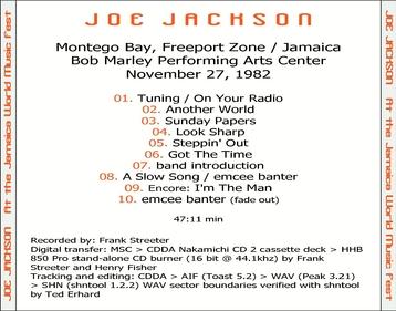 Live: Joe Jackson - Montego Bay Jamaica - 25 Novembre 1982