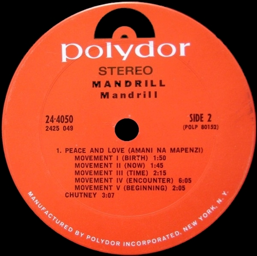 "1971 : Album "" Mandrill "" Polydor Records 24-4050 [ US ]"