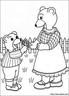 petit-ours-brun-coloriage-fete-maman-mere-enfant-bouquet-fl