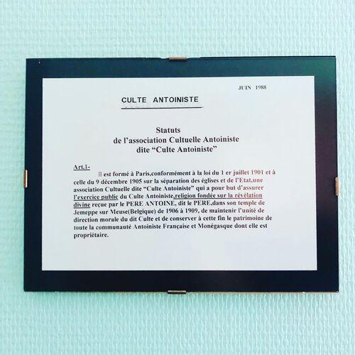 Statuts du Culte Antoiniste (juin 1988)(gramho.com)