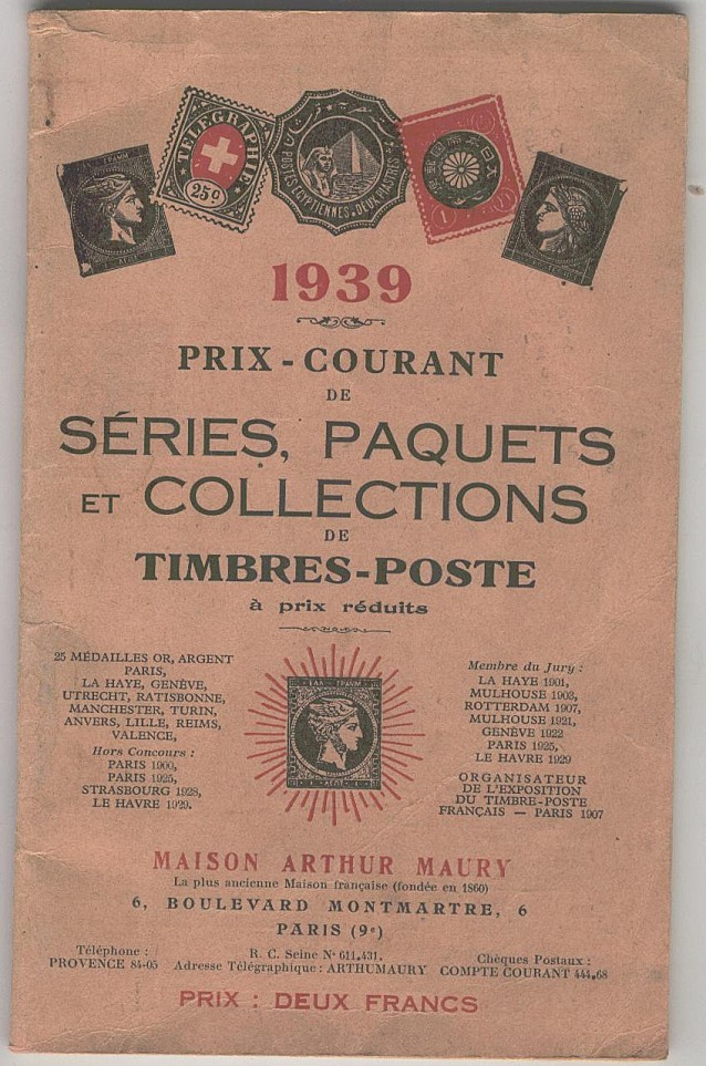 prix courants séries paquets collections Maury 1939 1