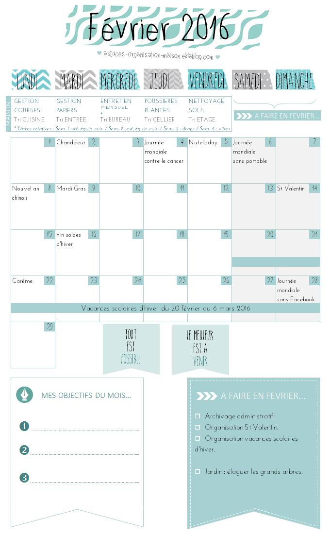 ✿ Un mois de février organisé {calendrier à imprimer}