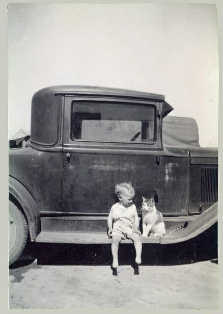 toddler w/ kitten seated on a running board of car - back in the day ...: