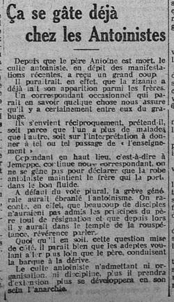 Ça se gâte déjà chez les Antoinistes (Le Peuple, 2 novembre 1913)(Belgicapress)