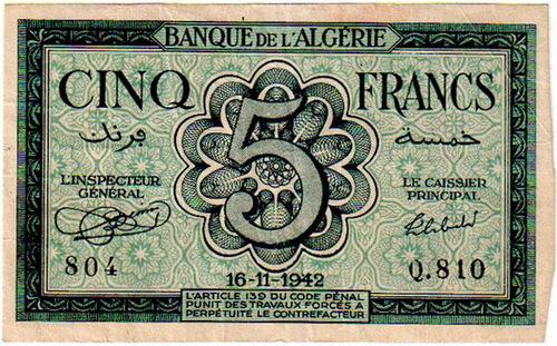 La Monnaie de l'Algérie Française