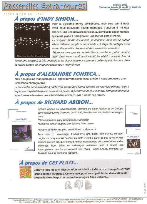 Invitation de Passerelles extra-muros à Saint-Denis