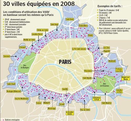 Carte Vélib banlieue