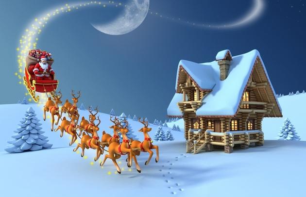 Jour fériés Nouvel An Cervidés Maison Neige Papá Noel 3D Graphiques