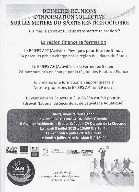 Réunion d'information sur les métiers du sports à Saint-Quentin