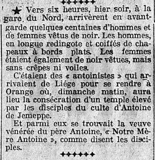 Orange - consécration du Temple (L'Intransigeant 19 sept 1926)