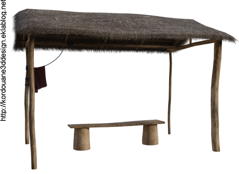 Tube de hutte en bois (image-render)