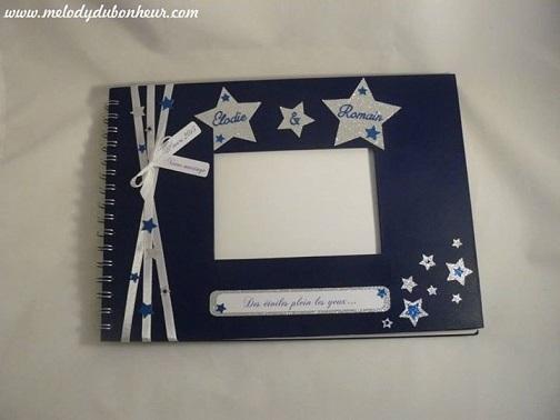 Livre d'or mariage étoiles bleu nuit et argent paillettes